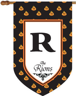 Personalized Pumpkin Polka Dot House Flag