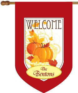 Personalized Fall Pumpkins House Flag