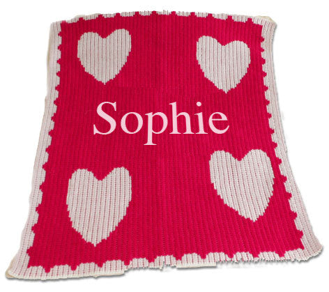 Name and Multiple Hearts and Scalloped Edge Stroller Blanket