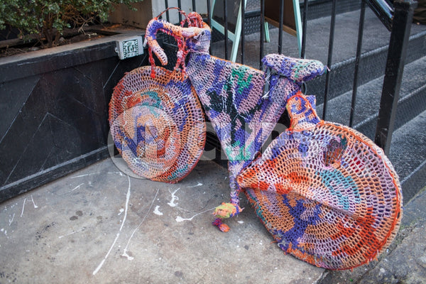 bicycle sweater parked on Lower East Side of Manhattan on fall day in NYC