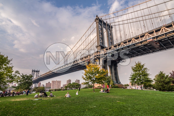 Manhattan Bridge and people lying on green grass of Brooklyn Bridge Park on summer day in NYC