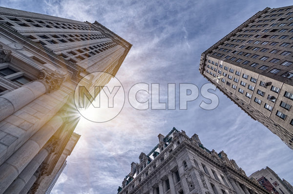tall buildings in Financial District - FiDi in HDR in Downtown Manhattan on sunny day