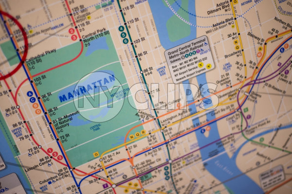 MTA subway map of Manhattan with Central Park illustration