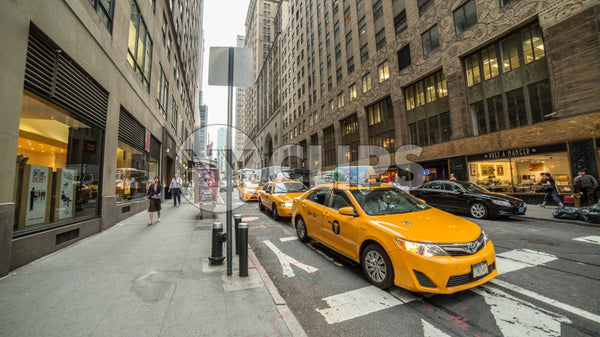 taxi cab at crosswalk in Midtown Manhattan