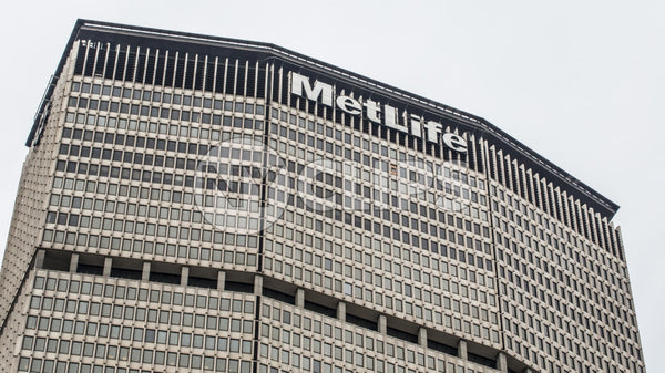 MetLife Building - close-up of top of famous skyscraper in Midtown Manhattan NYC