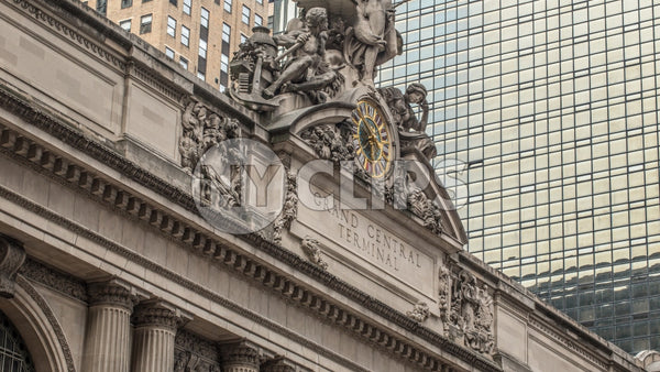 Grand Central Station Terminal exterior with clock in Manhattan - Tight shot in NYC