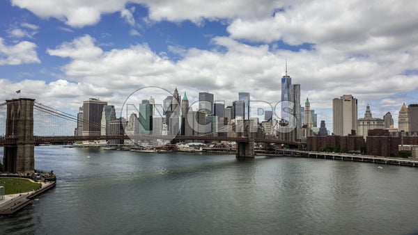 Brooklyn Bridge and Downtown Manhattan skyline with East River