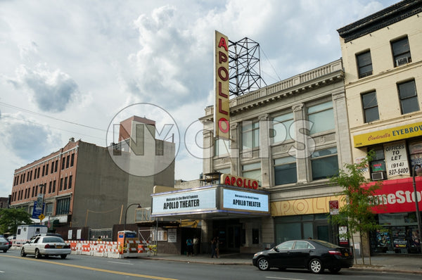 Apollo Theater in Harlem on 125th Street on beautiful day in Uptown Manhattan NYC