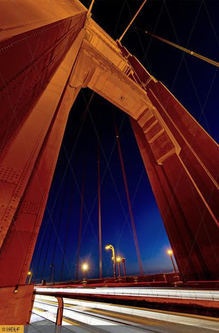 Golden Gate Bridge and rushing night