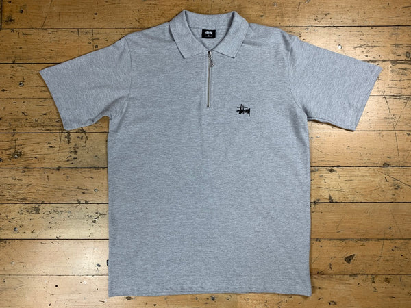 Graffiti Zip Polo - True Grey Marle