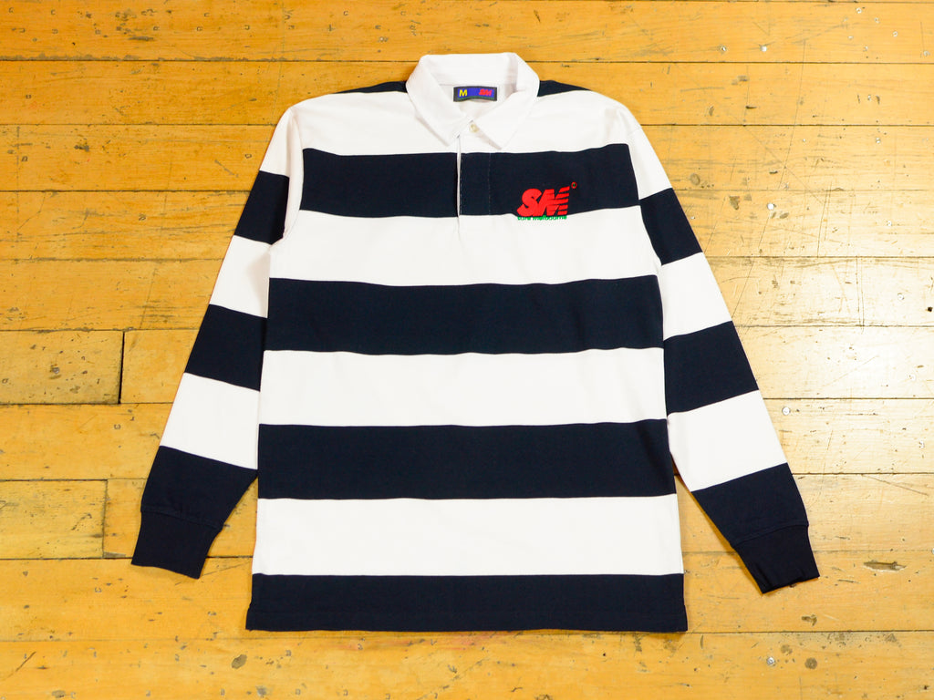 SM Embroidered Stripe Rugby - White / Navy