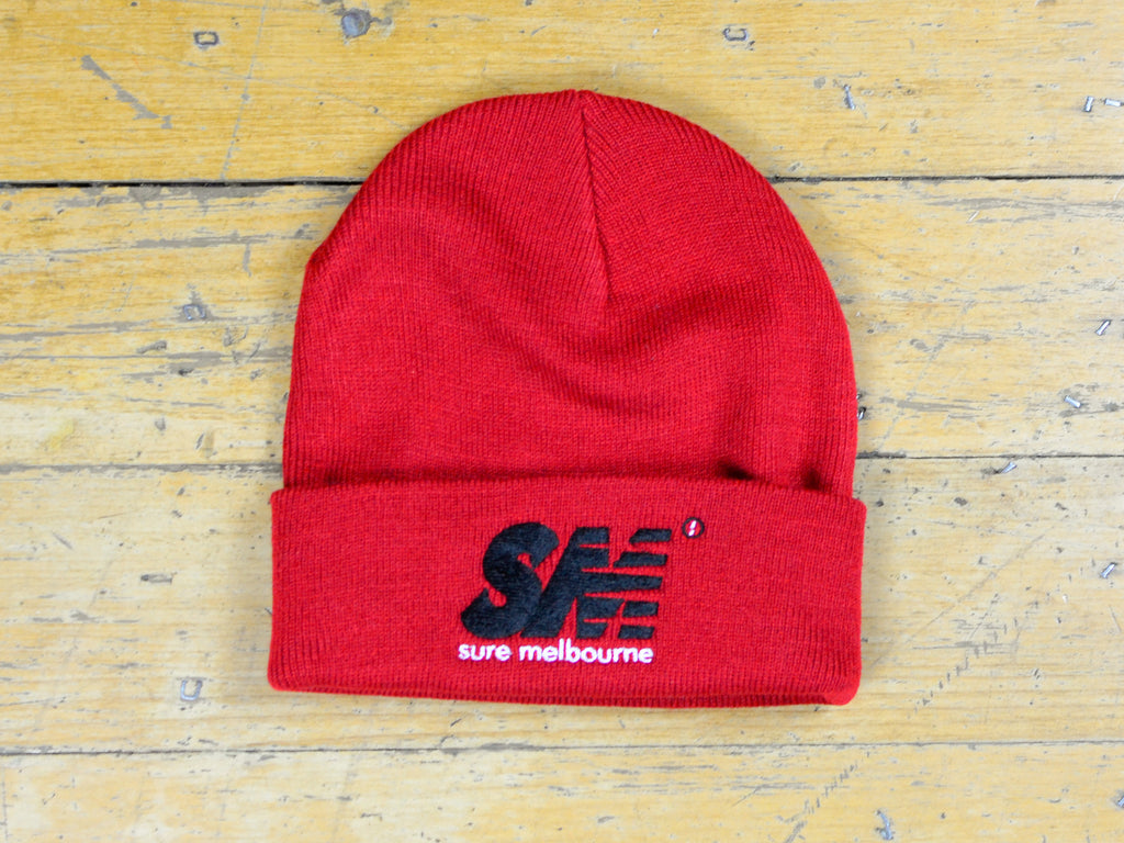 SM Embroidered Beanie - Cardinal