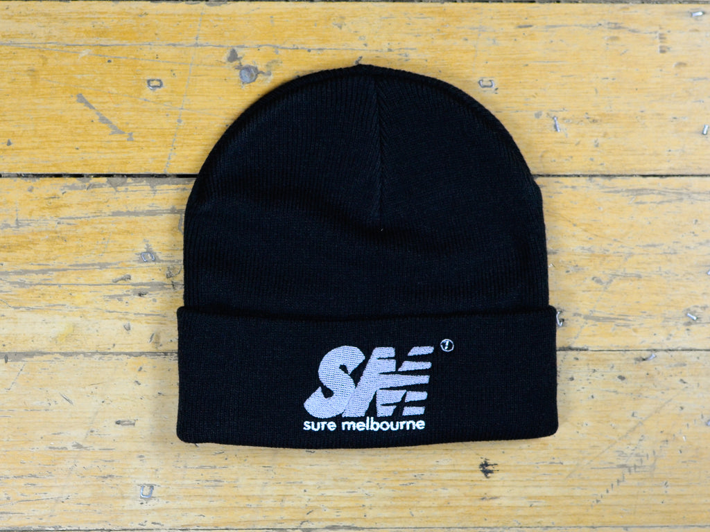SM Embroidered Beanie - Black