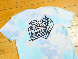 Tie Dye Heartbeat T-Shirt - Blue
