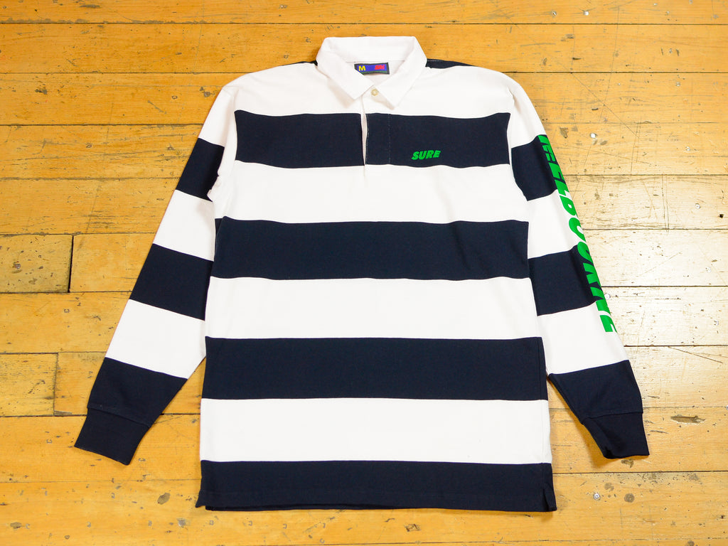 SM Runner Striped Rugby Jersey - Navy / White / Green