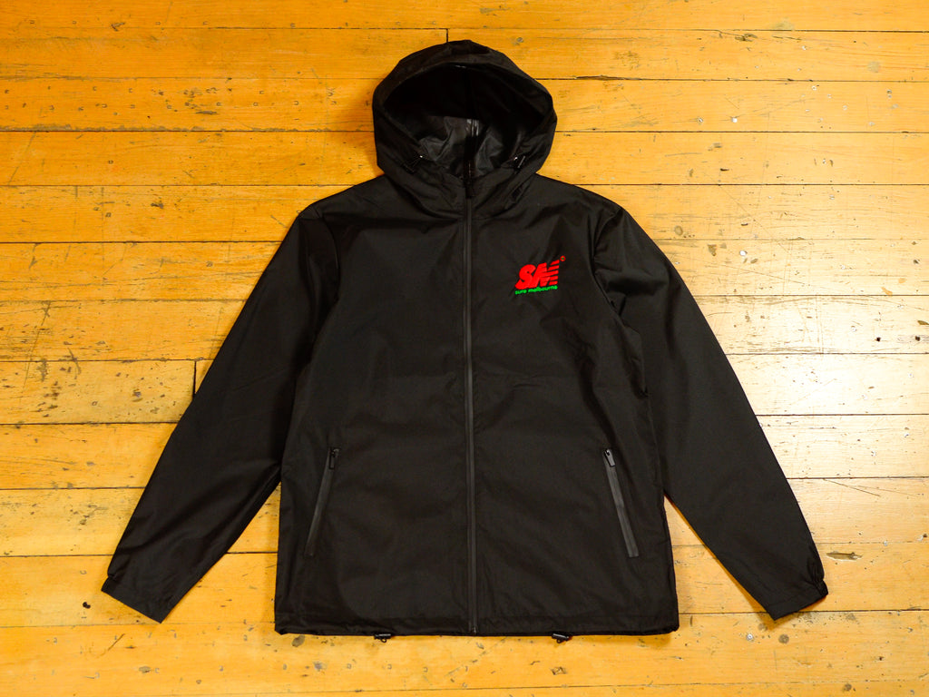 SM Embroidered Windbreaker Zip Jacket - Black / Red / Green
