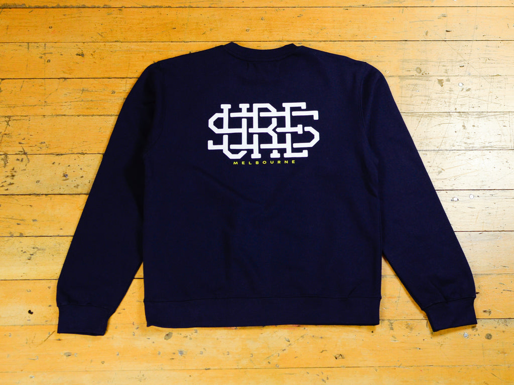 Stacked Logo Crew - Navy
