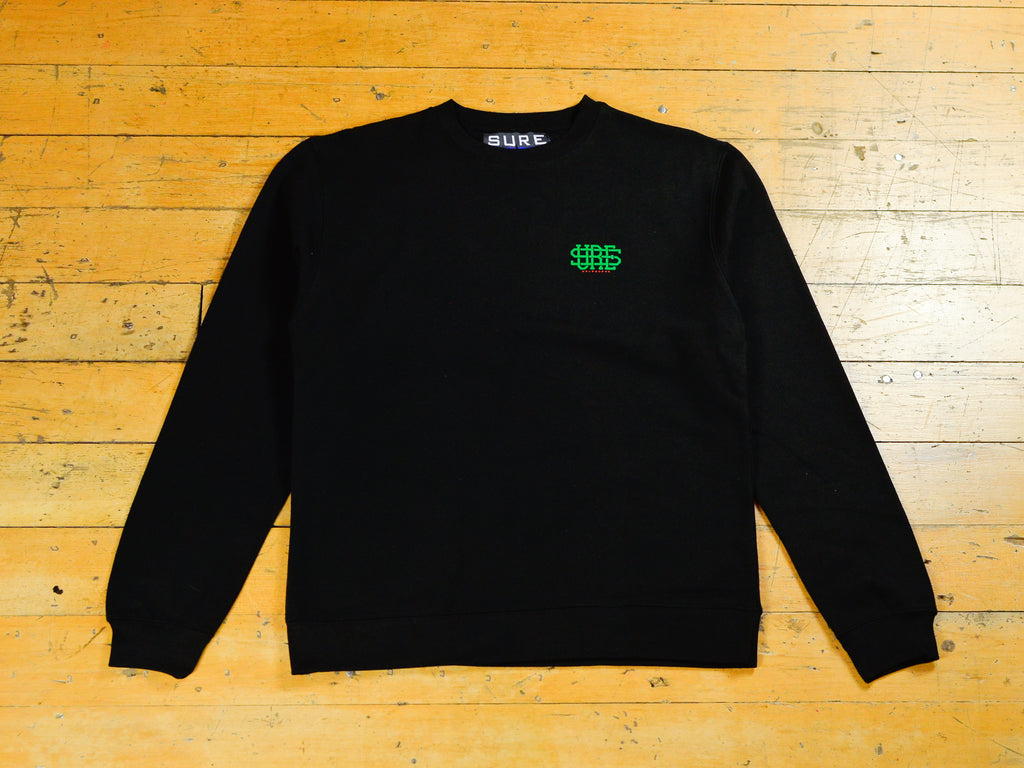 Stacked Logo Crew - Black