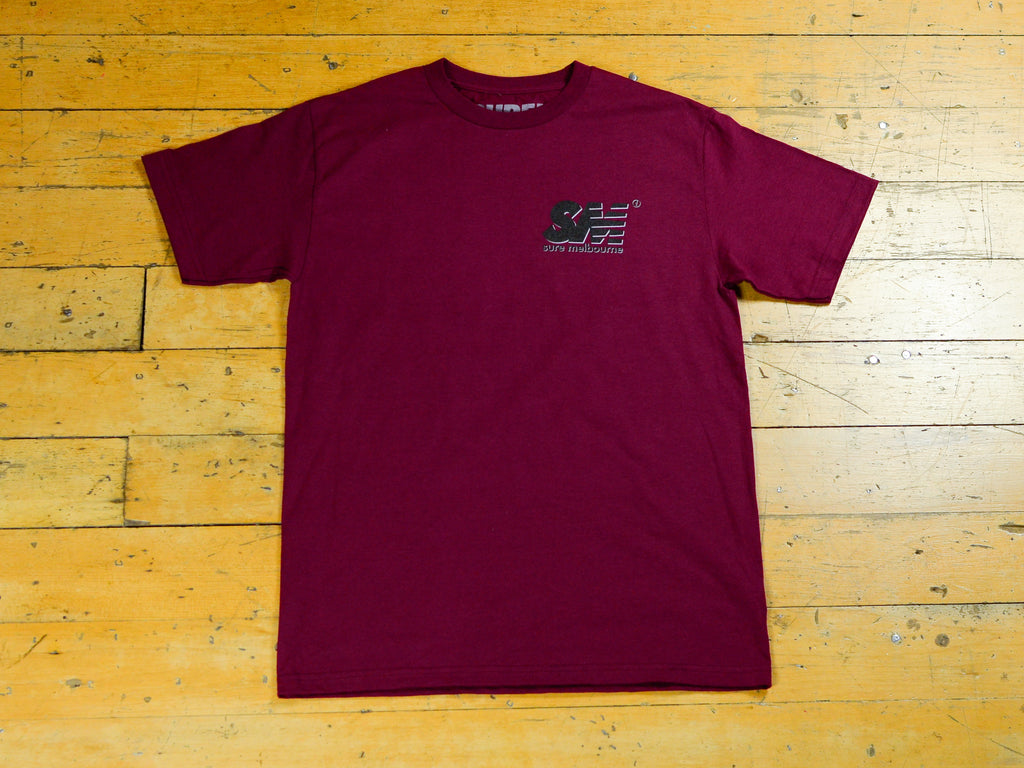 SM Shadow T-Shirt - Burgundy / Black / Grey