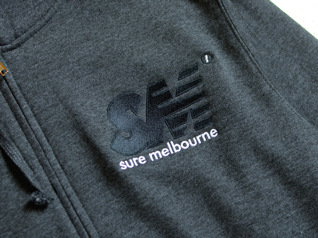 SM Embroidered Zip Hood - Charcoal