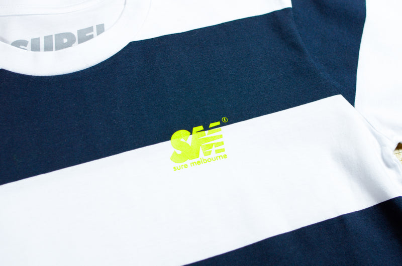 SM Wide Stripe T-Shirt - White / Navy