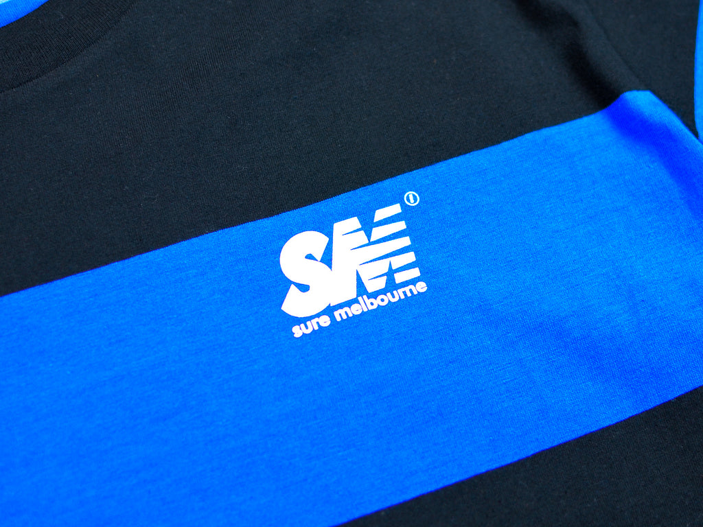 SM Wide Stripe T-Shirt - Blue / Black