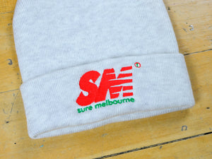 SM Embroidered Beanie - White Marle