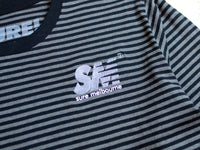 SM Embroidered L/S Striped T-Shirt - Asphalt Heather / Black