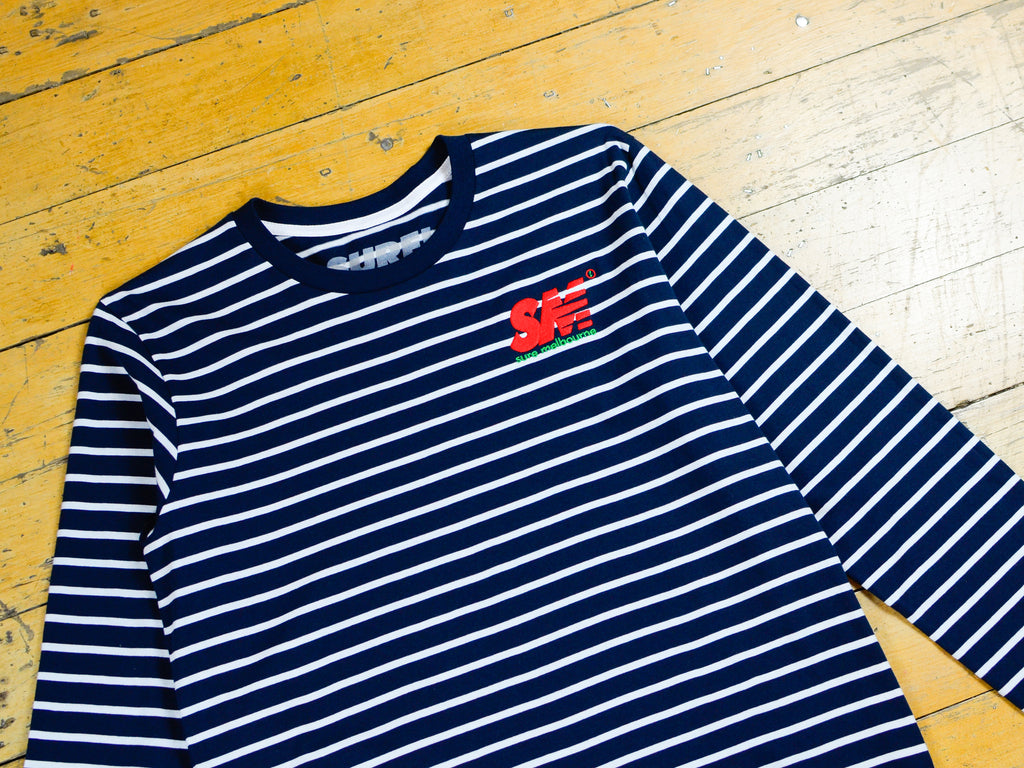 SM Embroidered L/S Striped T-Shirt - Navy / White