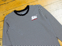 SM Embroidered L/S Striped T-Shirt - Black / Natural