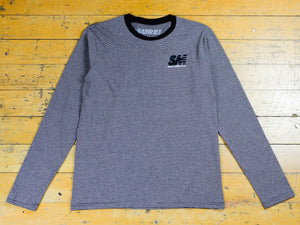 SM Embroidered L/S Striped T-Shirt - Athletic Heather / Black
