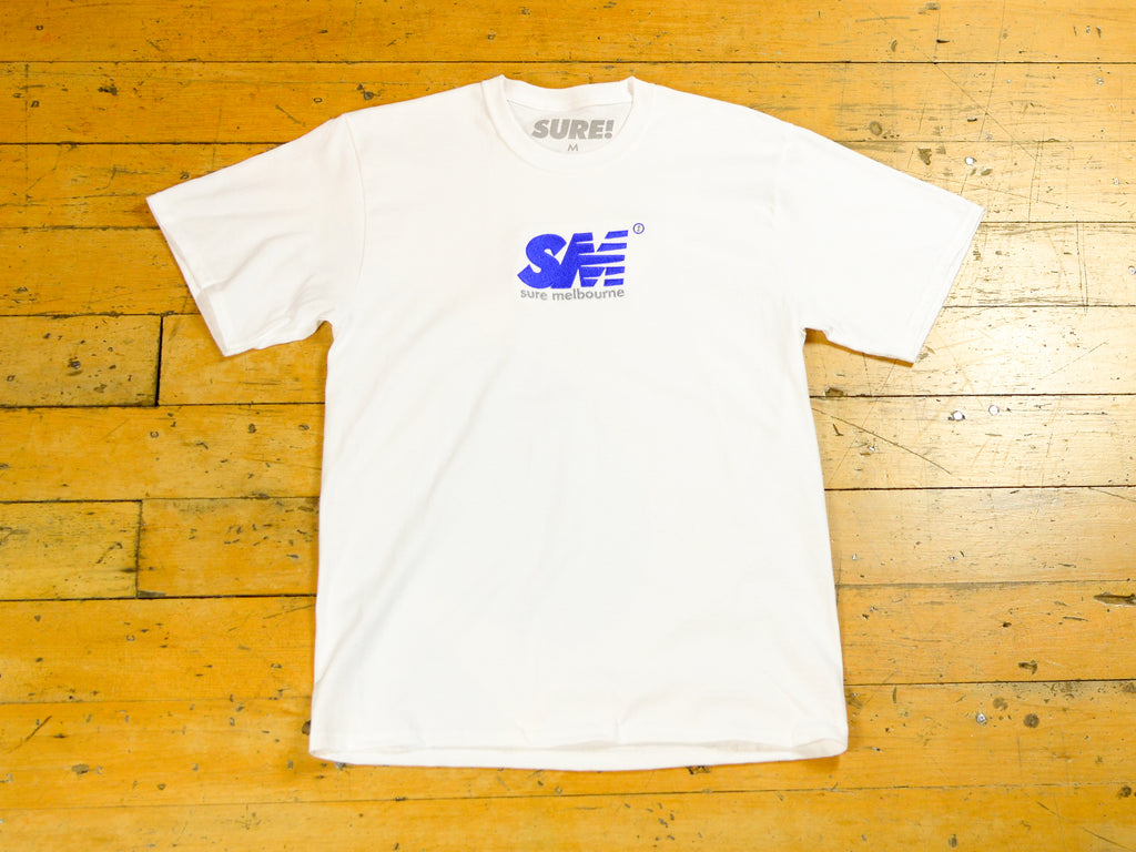 SM Embroidered T-Shirt - White / Royal
