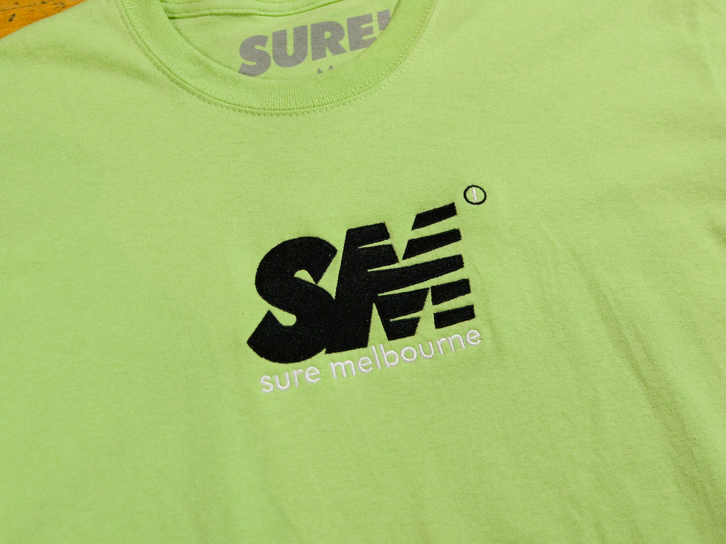 SM Embroidered T-Shirt - Pistachio / Black