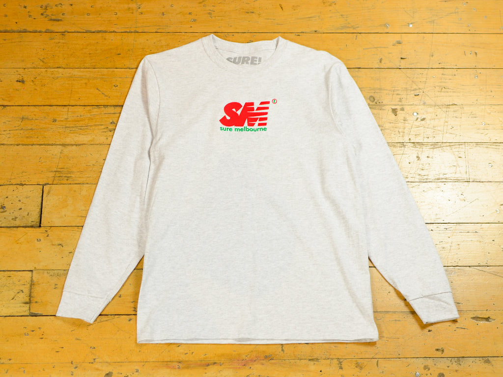 SM Embroidered Long Sleeve T-Shirt - Ash / Red