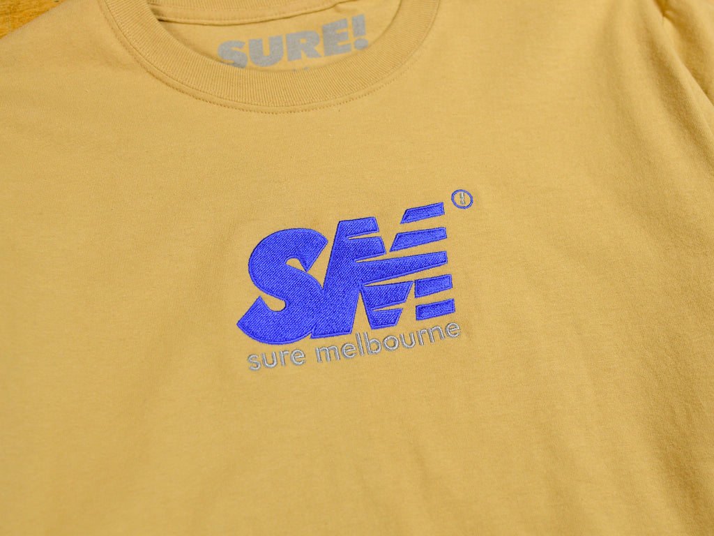 SM Embroidered Long Sleeve T-Shirt - Sand / Royal
