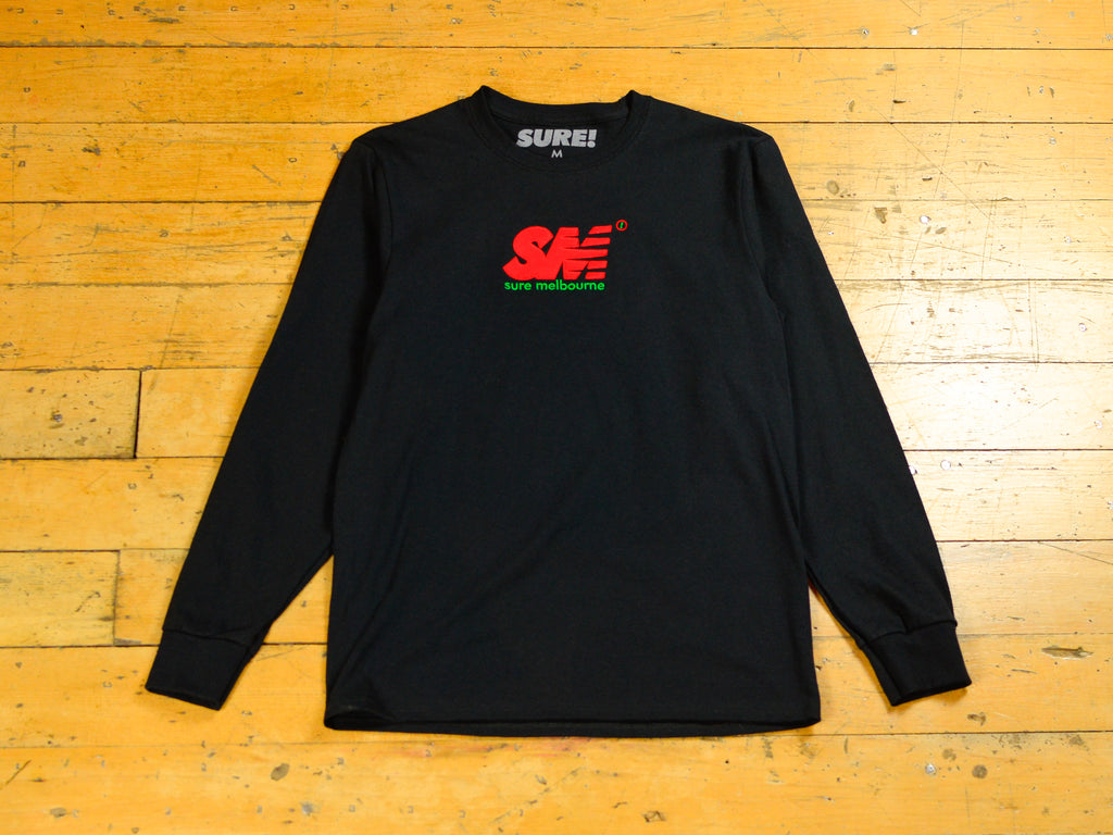 SM Embroidered Long Sleeve T-Shirt - Black / Red