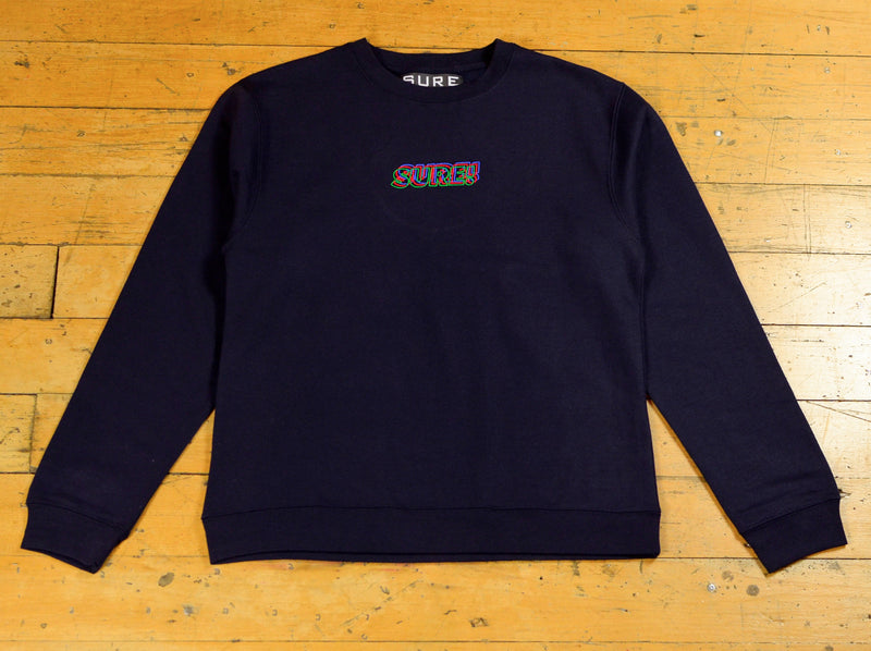 3D Embroidered Logo Crew - Navy