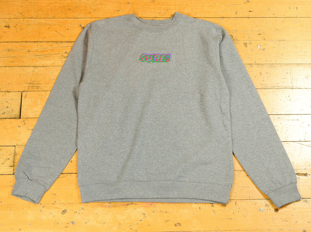 3D Embroidered Logo Crew - Gunmetal Heather