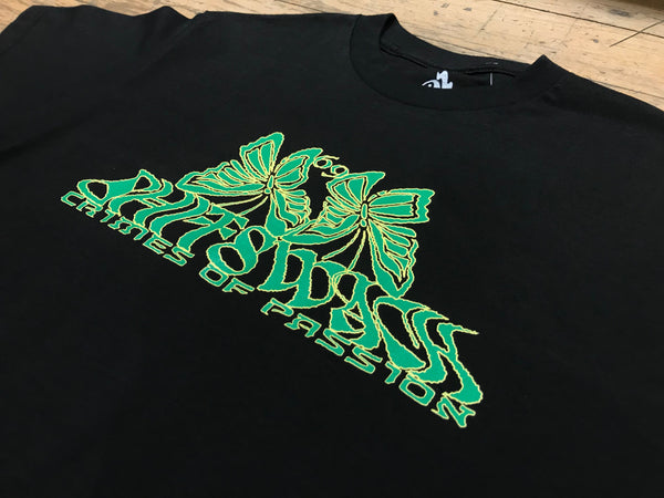69 Butterflys Green Print - Black