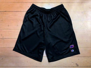 Sure SM Logo Embroidered Champion Mesh Shorts - Black