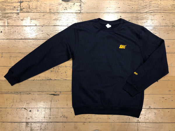 SM Logo Embroidered Crewneck - Navy/Gold