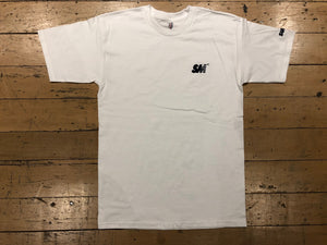 SM Logo Embroidered T-Shirt  - white/navy