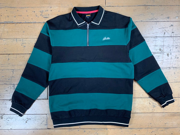 Ivy Stripe 1/4 Zip Pullover - Forest/Black