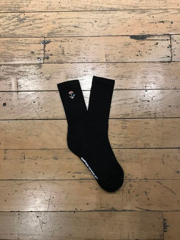 Mushroom Embroid Sock - Black