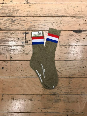Tri Colour Band Sock - Green