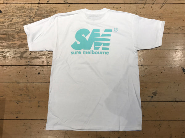 SM Mesh Logo T-Shirt - White/Tiffany