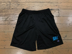 SM Logo Champion Mesh Shorts - Black/Tiffany