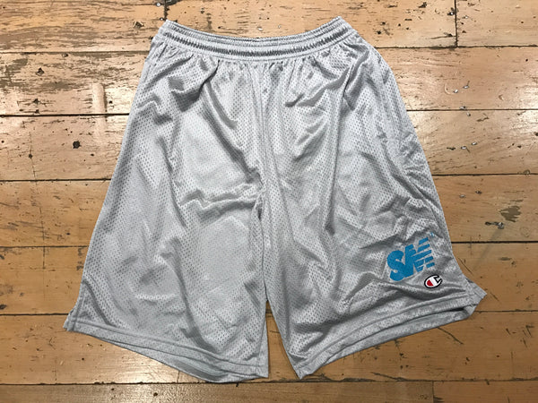 SM Logo Champion Mesh Shorts - Grey/Tiffany