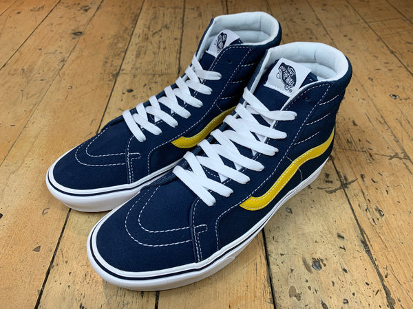 Size 13 UNDER HALF PRICE Comfycush Sk8-Hi - Dress Blue/Gibraltar Sea/Sulphur