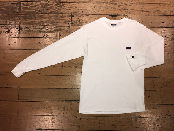 Champion SM Embroid LS - White
